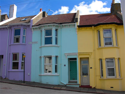Colourfully painted houses in Belton Road