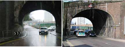 a tale of two bridges - view west through the railway tunnel along Hollingdean Road